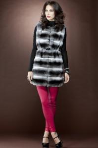 Anamoda Horizontal Chinchilla Tunic Fur Vest