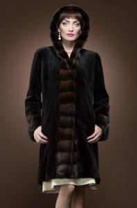 Brown Sheared and Mahogany Mink Mid-Length Fur Coat