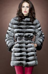 Zandra Rhodes Horizontal Black Velvet Chinchilla Mid Length Fur Coat